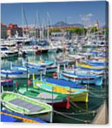 Colorful Boats Docked In Nice Marina, France Canvas Print