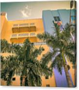 Colorful Building And Palm Trees Canvas Print