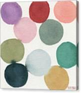 Colorful Circles Abstract Watercolor Canvas Print