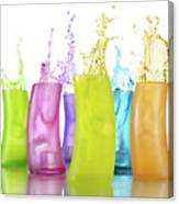 Colorful Drink Splashing From Glasses Canvas Print