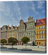 colorful facades on Market Square or Ryneck of Wroclaw Canvas Print