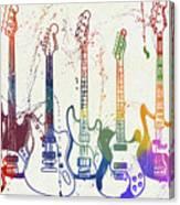 Colorful Fender Guitars Paint Splatter Canvas Print