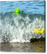 Colorful Flowers Crashing Inside A Wave Against The Shoreline Canvas Print