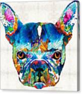 Colorful French Bulldog Dog Art By Sharon Cummings Canvas Print