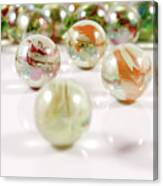 Colorful Glass Marbles Close-up Views Canvas Print