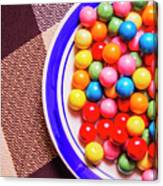 Colorful Gumballs On Plate Canvas Print