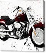 Colorful Harley Davidson Paint Splatter Canvas Print