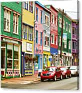 Colorful Houses In St Johns In Newfoundland Canvas Print