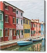Colorful Houses On The Island Of Burano Canvas Print