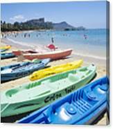 Colorful Kayaks On The Beach Canvas Print