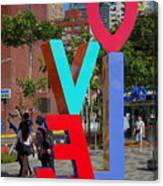 Colorful Love Sign In Kaohsiung Canvas Print