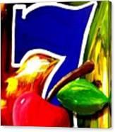 Colorful Lucky Seven Slot Machine Casino Decor With Cherry Canvas Print