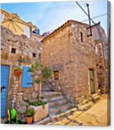 Colorful Mediterranean Stone Street Of Prvic Island Canvas Print