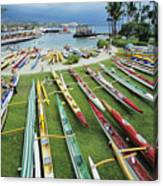 Colorful Outrigger Canoes Canvas Print