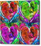Colorful Pop Hearts Love Art By Sharon Cummings Canvas Print