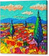 Colorful Poppies Field Abstract Landscape Impressionist Palette Knife Painting By Ana Maria Edulescu Canvas Print