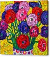 Colorful Ranunculus Flowers In Polka Dots Vase Palette Knife Oil Painting By Ana Maria Edulescu Canvas Print