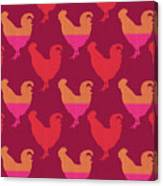 Colorful Roosters- Art By Linda Woods Canvas Print