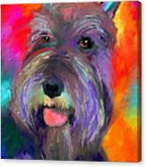 Colorful Schnauzer Dog Portrait Print Canvas Print