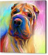 Colorful Shar Pei Dog Portrait Painting  Canvas Print