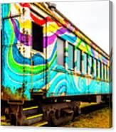 Colorful Skunk Train Passenger Car Canvas Print