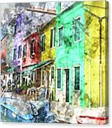 Colorful Street In Burano Near Venice Italy Canvas Print