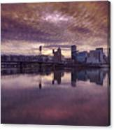 Colorful Sunset Over Portland Oregon Canvas Print