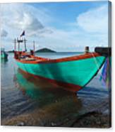 Colorful Turquoise Boat Near The Cambodia Vietnam Border Canvas Print