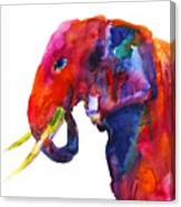 Colorful Watercolor Elephant Canvas Print
