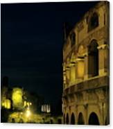 Colosseum Illuminated At Night And The Forums Canvas Print