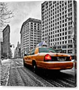 Colour Popped Nyc Cab In Front Of The Flat Iron Building  Canvas Print