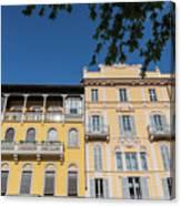 Colourful Facade Of Traditional Buildings In Como, Italy Canvas Print