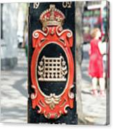 Colourful Lamp Post With The City Of Westminster Coat Of Arms London Canvas Print