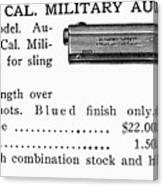 Colt .45 Automatic Pistol Canvas Print
