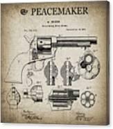 Colt .45 Peacemaker Revolver Patent  1875 Canvas Print