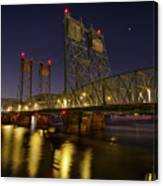 Columbia Crossing I-5 Interstate Bridge At Night Canvas Print