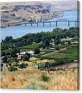 Columbia River And Biggs Bridge Canvas Print