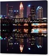 Columbus Ohio Reflecting On The River Canvas Print