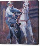 Comin At Ya      Calf Roping Painting Canvas Print