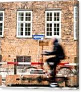 Commuter Going To Work By Cycle In Copenhagen Canvas Print