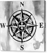 Compass-black Canvas Print
