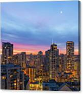 Condominium Buildings In Downtown Vancouver Bc At Sunrise Canvas Print