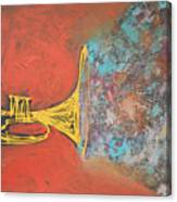 Confetti Horn On Orange Canvas Print