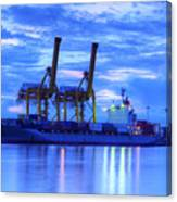 Container Cargo Freight Ship With Working Crane Bridge In Shipya Canvas Print