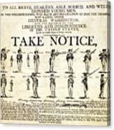 Continental Army Recruitment Broadside Canvas Print