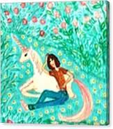 Conversation With A Unicorn Canvas Print