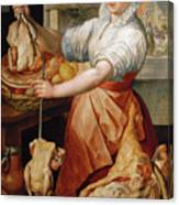 Cook With Chicken. In The Background Christ With Mary And Martha Canvas Print