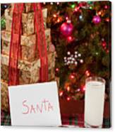 Cookies And Milk For Santa Canvas Print