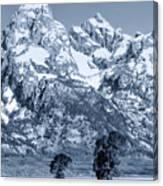 Cool Blue Monotone Grand Teton Canvas Print