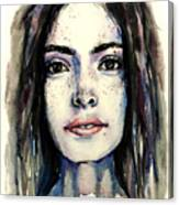 Cool Colored Watercolor Face Canvas Print